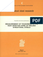 Measurement of toughness in the heat affected zone of welded structural steels