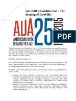 The Americans With Disabilities Act - The Meaning of Disability