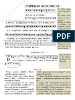 Vísperas Gregorianas bilingües del domingo. Forma Extraordinaria del Rito Romano