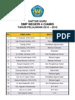 Daftar Staf Tata Usaha Smpn 4 Ciamis 2015 2016