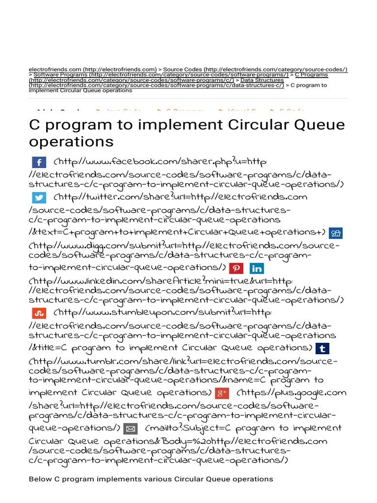 C Program to Implement Circular Queue Operations _ Electrofriends