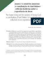 A Autocomunicação de Deus Em Rahner