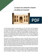 La Maison de La Sagesse Des Abbassides à Bagdad Ou Les Débuts de l'Université