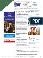 Budget 2016_ Highlights of FM Arun Jaitley's Speech - The Economic Times