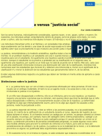 """Justicia Versus """"Justicia Social"""""""
