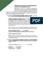 Informe de Procesos Ejecutivos o de Recuperación de Cartera a Diciembre de 2015