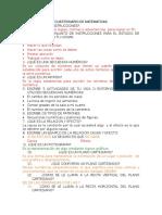 Cuestionario de Matematicas