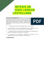 Sintesis de Periodo Lengua Castellana
