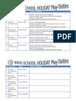 School Holiday Activity 2015