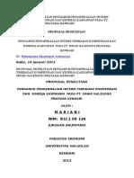 Proposal Penelitian Pengaruh Pengendalian Intern Terhadap Kompensasi Dan Kinerja Karyawan Pada Pt