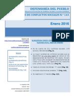 Reporte Mensual de Conflictos Sociales N 143 Enero 2016