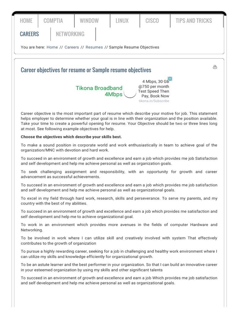 Sample Resume Objectives Goal Personal Development