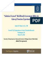 """Solution-Focused"" Risk/Benefit Assessment for GOF Experiments (Adam Finkel)"