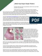 Tips Menggunakan Jilbab Segi Empat Simple Modern