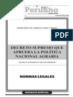 DECRETO SUPREMO QUE APRUEBA LA POLÍTICA NACIONAL AGRARIA