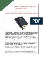 La Bible Judéo- Chrétienne, n'Est Pas La Parole de Dieu !