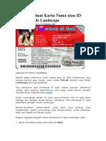 Cara Membuat Kartu Nama Atau ID Card 2 Mode