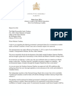 Brian Jean Letter to Prime Minister re