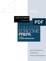Bat Maths Techno Concours Ecricome Prepa 2015
