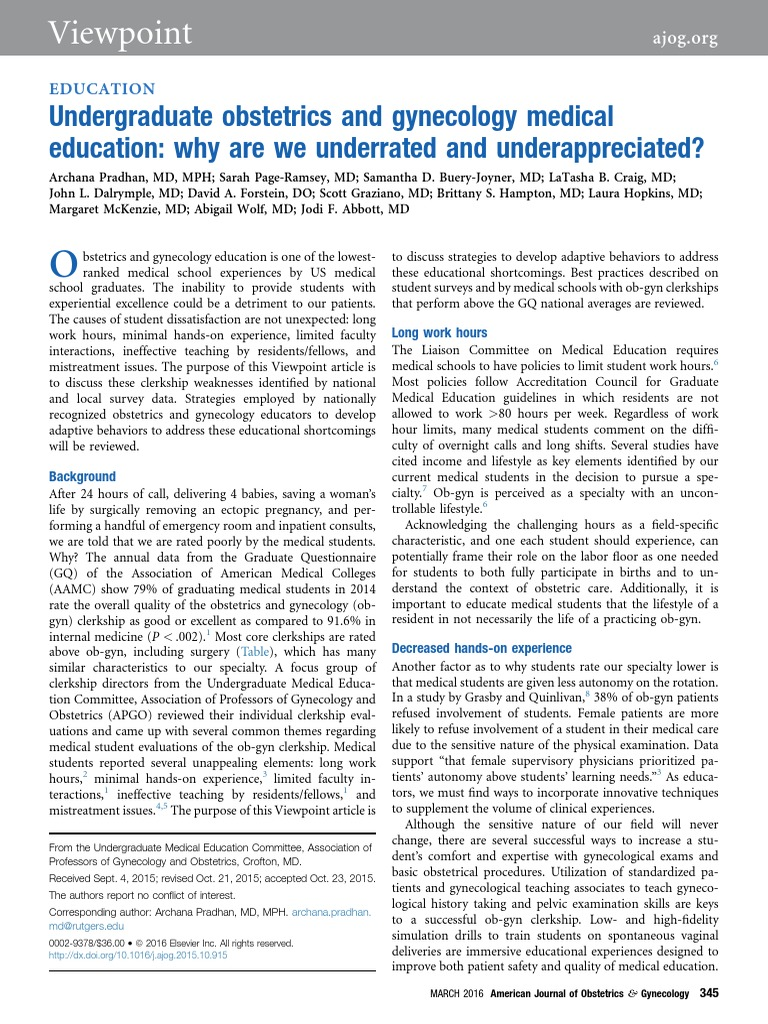 undergrad obsgyn medical education   why are we underrated