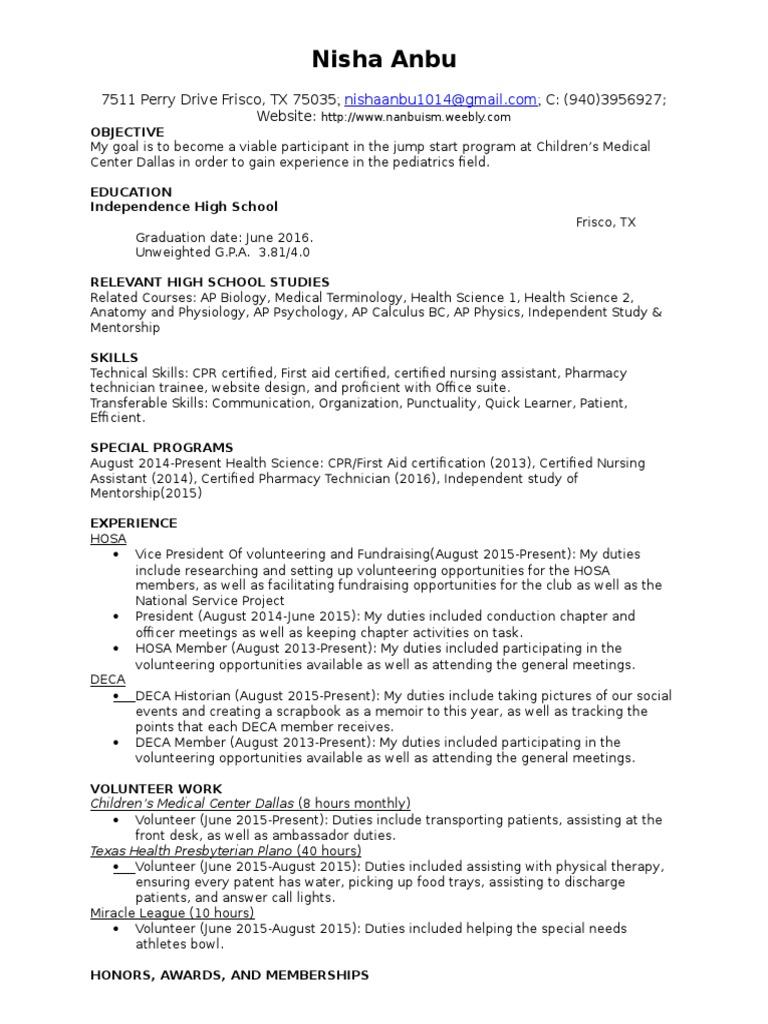 Hosa Resumee Pharmacy Public Health