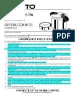 PRESTO 01370 Manual Espanol Olla de Presion Pressure Cooker