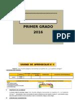 UNIDAD DE APRENDIZAJE 1°  ED. PRIMARIA 2016 MARZO