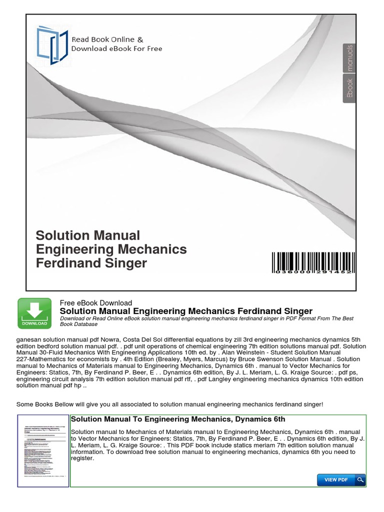 Solution manual engineering mechanics ferdinand singer taxes solution manual engineering mechanics ferdinand singer taxes engineering fandeluxe Gallery