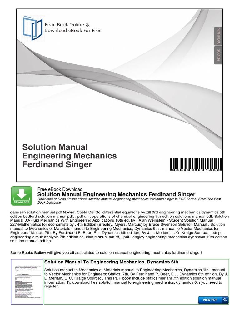 Engineering fluid mechanics solutions manual free ebook pdf engineering fluid mechanics solution array solution manual engineering mechanics ferdinand singer taxes rh scribd com fandeluxe Choice Image