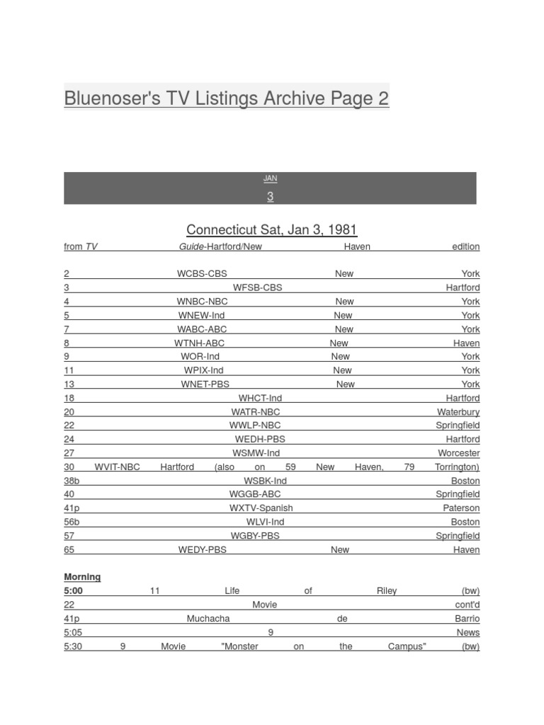 bluenoser's tv listings archive (2) | entertainment companies of the