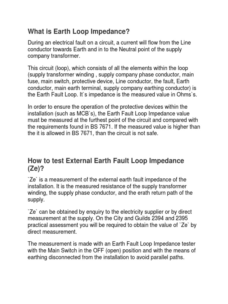 Earth Loop Impedance | Electrical Impedance | Electricity