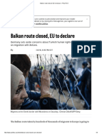 Balkan Route Closed, EU to Declare – POLITICO