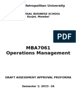 Corr UBS Mumbai MBA7061 Operations Management Draft Assessment Approval Proforma Cardiff Aug Cohort 2015 16