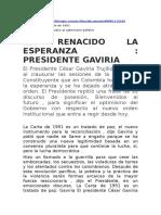 """Discurso - Constitución 1991 - """"Ha Renacido la Esperanza"""""""