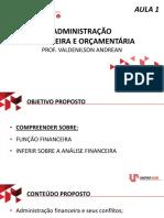 Administração Financeira e Orçamentária - AULA AO VIVO 1
