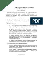 Declaracion Del IV Encuentro Nacional Universitario Realizado en Cali