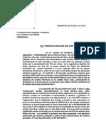 Nota presentada por la Sra. Presidente del Centro de Jubilados y Pensionados de la Provincia de Corrientes