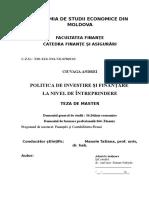 Politica de Finantare Si Investire La Nivel de Intreprindere