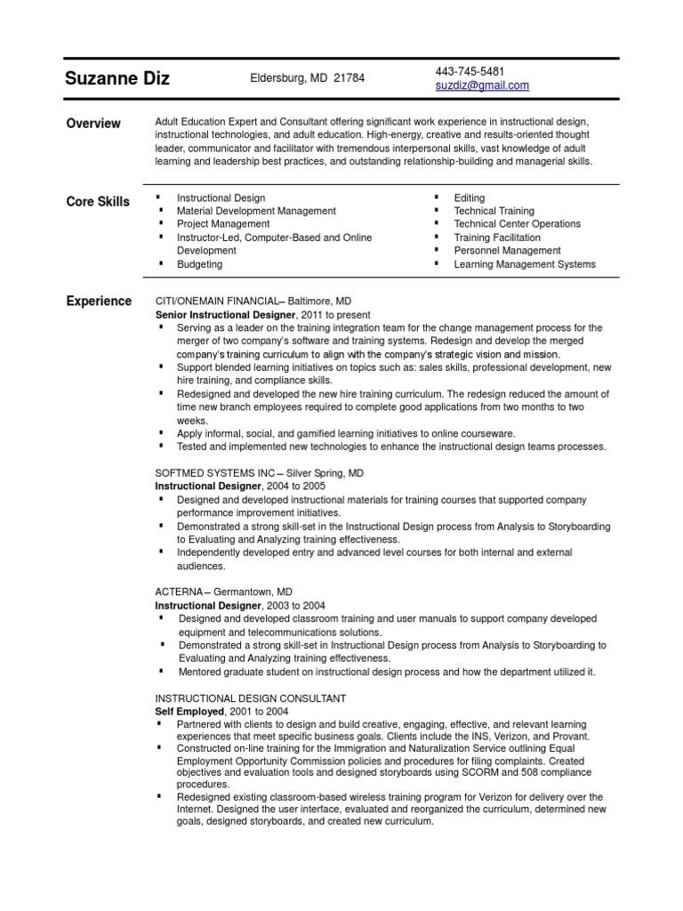 senior instructional designer in baltimore md resume