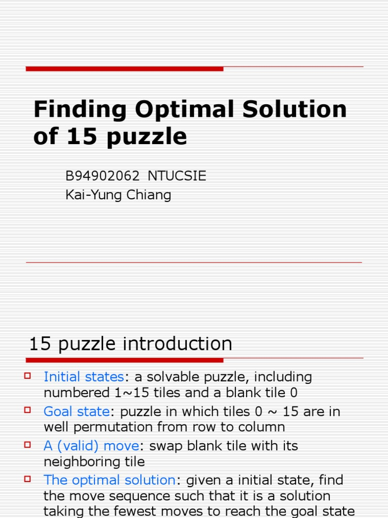 Finding Optimal Solution Of 15 Puzzle Theoretical Computer Science