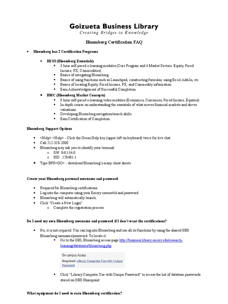 Bloomberg Faq 2 Certificate Programs Bonds Finance Financial