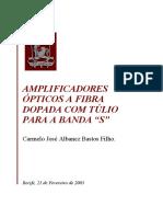 """AMPLIFICADORES ÓPTICOS A FIBRA DOPADA COM TÚLIO PARA A BANDA """"S"""""""