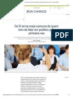 Os 10 Erros Mais Comuns de Quem Tem de Falar Em Público Pela Primeira Vez - Jornal O Globo