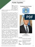 Presidente de La Nación Argentina - Wikipedia, La Enciclopedia Libre