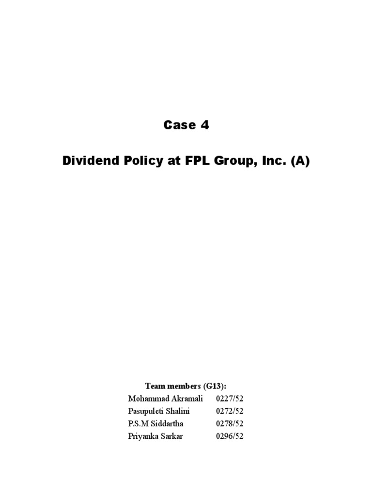 fpl dividend policy case study solution