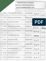 Lista de Ingresantes 2016-1 Con Sus Secciones