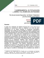 El Dispositivo Gubernamental Su Totalizacion Moderna y El Afuera de Los Paganos Gonzalo Diaz Letelier