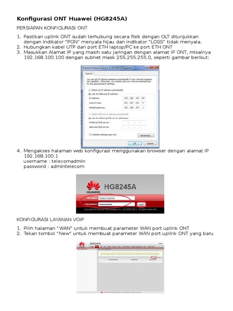 Konfigurasi ONT Huawei HG8245A