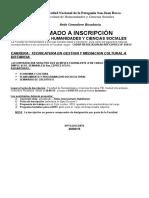 Ampliacion Llamado Inscripcion Carrera a Distancia- Tecnicatura en Gestion y Mediacion Sociocultural