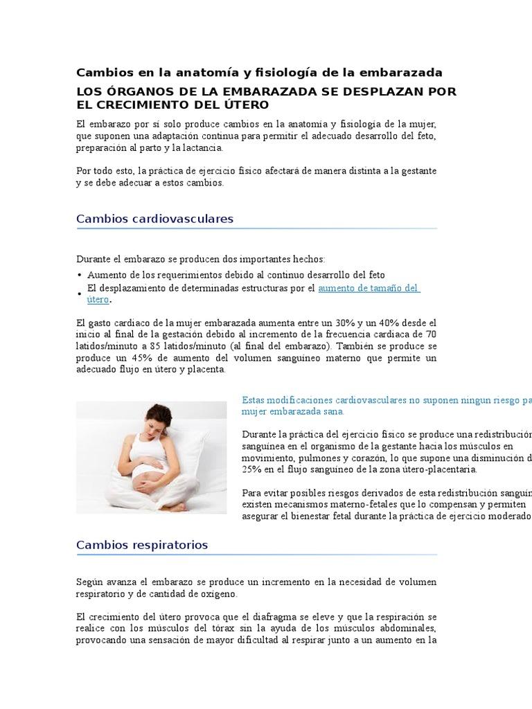 Cambios en La Anatomía y Fisiología de La Embarazada